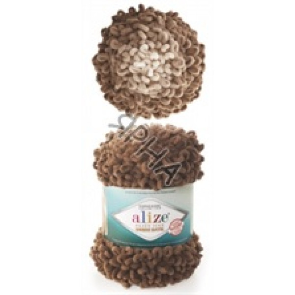 Пряжа в мотках Пуффи файн омбре батик Alize (Ализе) #   7262 [коричневый]